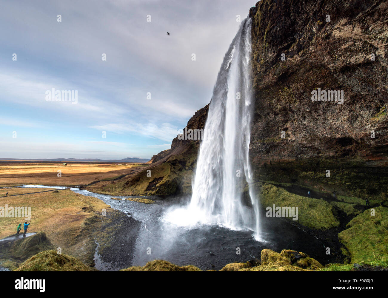 Seljalandsfoss waterfalls with tourists standing on rock South West Iceland Europe - Stock Image