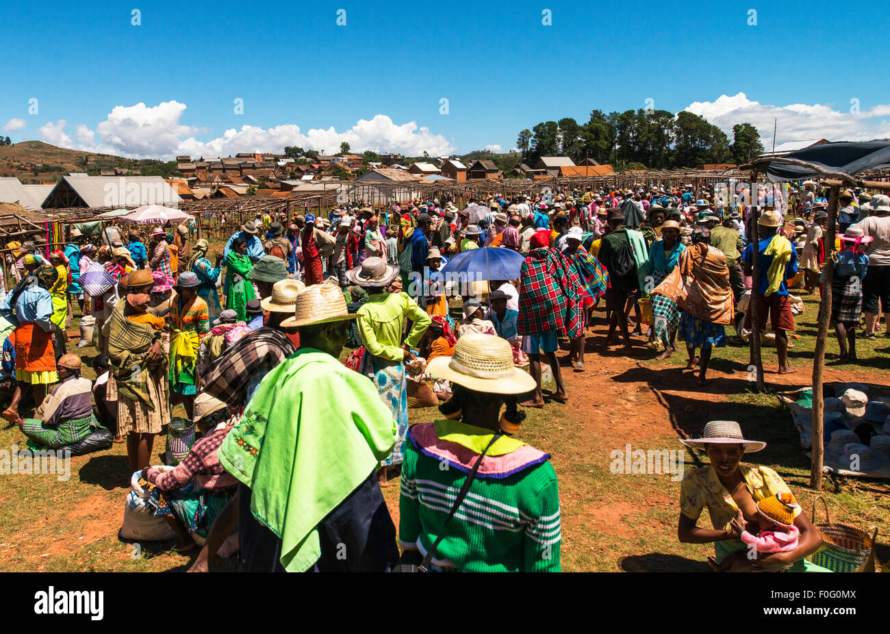 Local malagasy traditional market highlands Madagascar - Stock Image