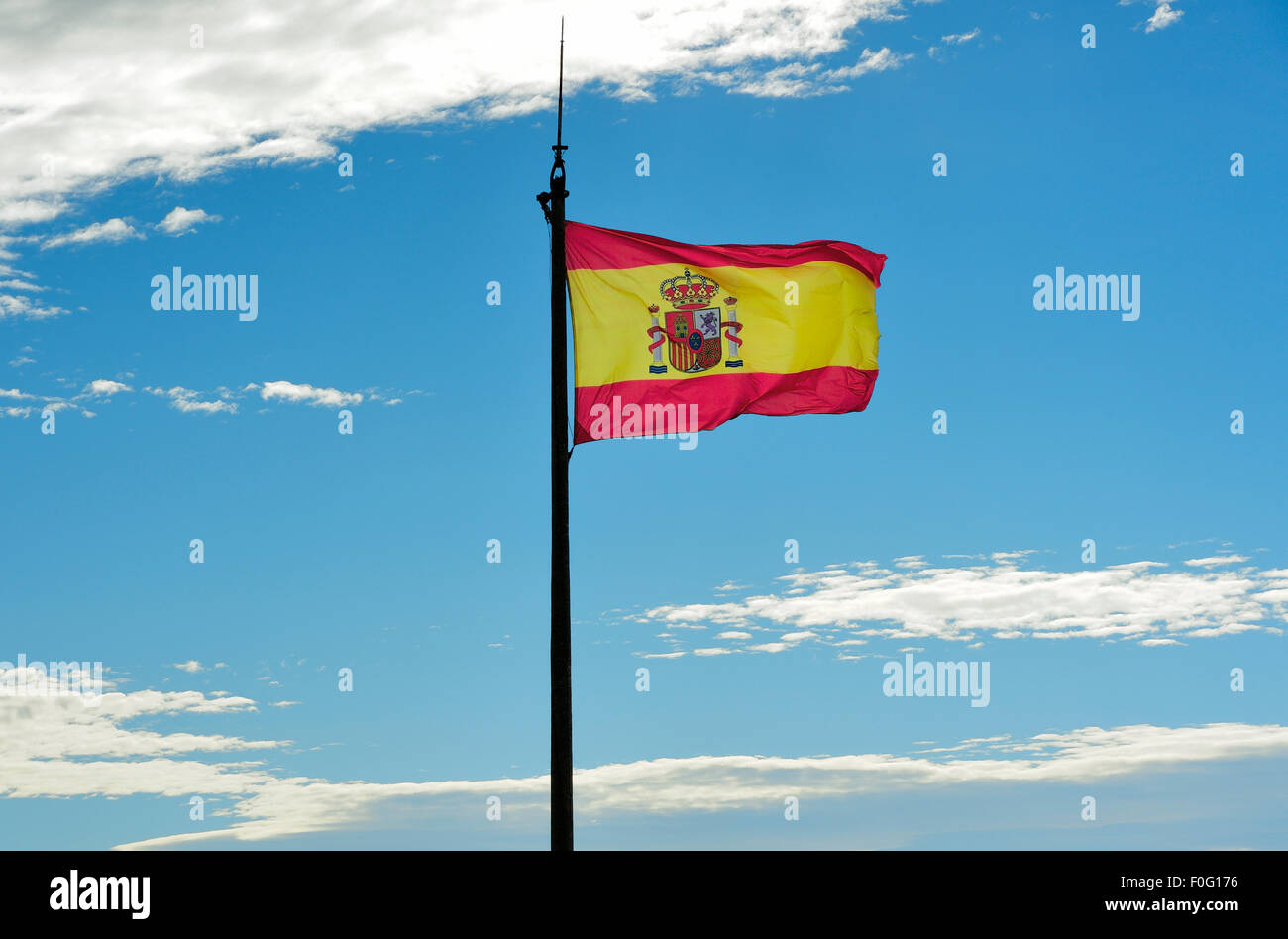 SPANISH FLAG PHOTOGRAPHED FROM THE FRONT - Stock Image