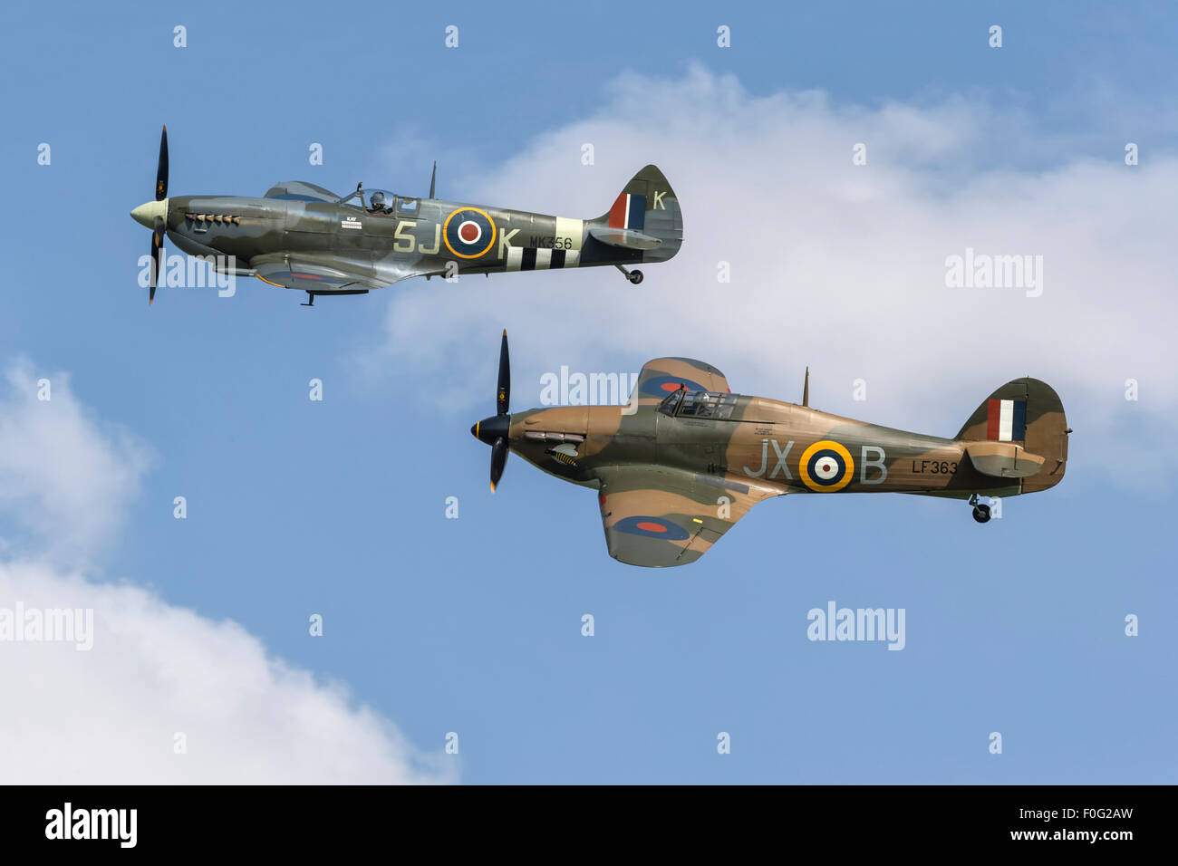 Hurricane formation with Spitfire - Stock Image