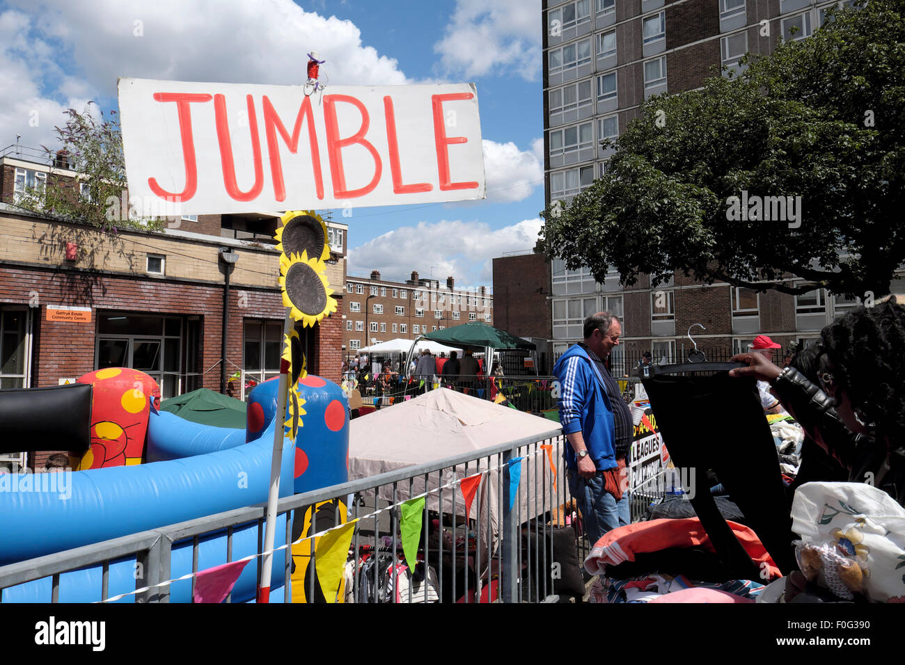 A Jumble sign at a jumble sale outside  Geffrye Community Centre in Hoxton, East London UK  KATHY DEWITT - Stock Image