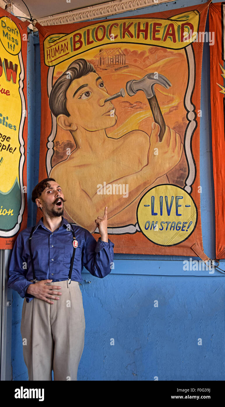A human blockhead at sideshows by the Sea in Coney Island, Brooklyn, New York - Stock Image