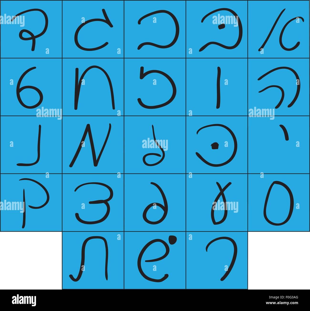 Handwritten Hebrew alphabet. - Stock Image