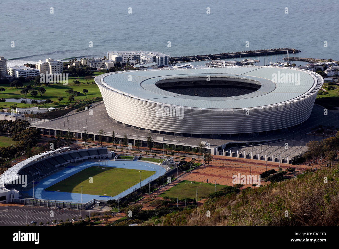 Cape Town Stadium on the waterfront in Sea Point, built for the  2010 FIFA World Cup and home to Ajax Cape Town - Stock Image