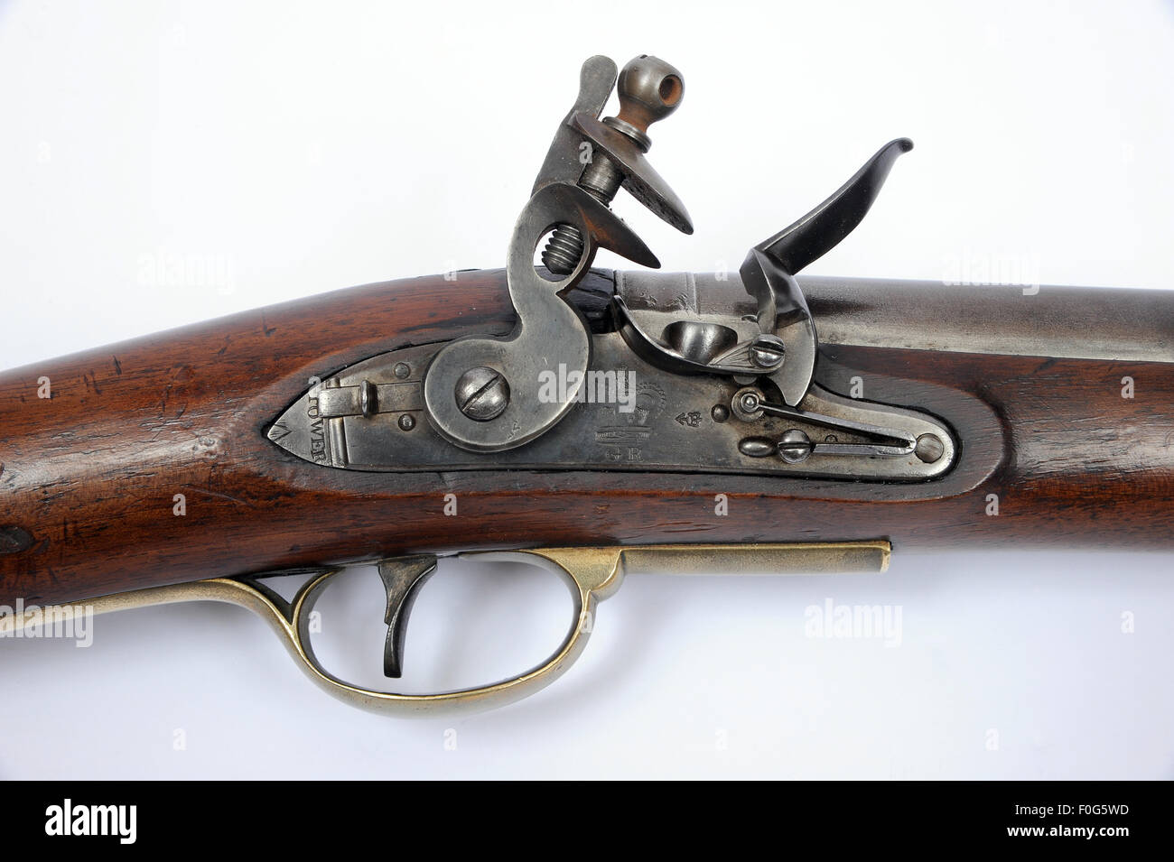 A very rare example of the 1808 Paget Cavalry flintlock carbine as used during the Georgian period and typical of - Stock Image