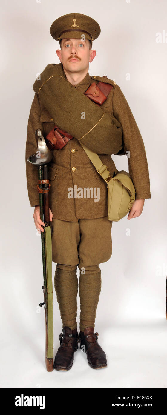 A Great War uniform as worn by British cavalry hussar soldiers  1914-1918. - Stock Image