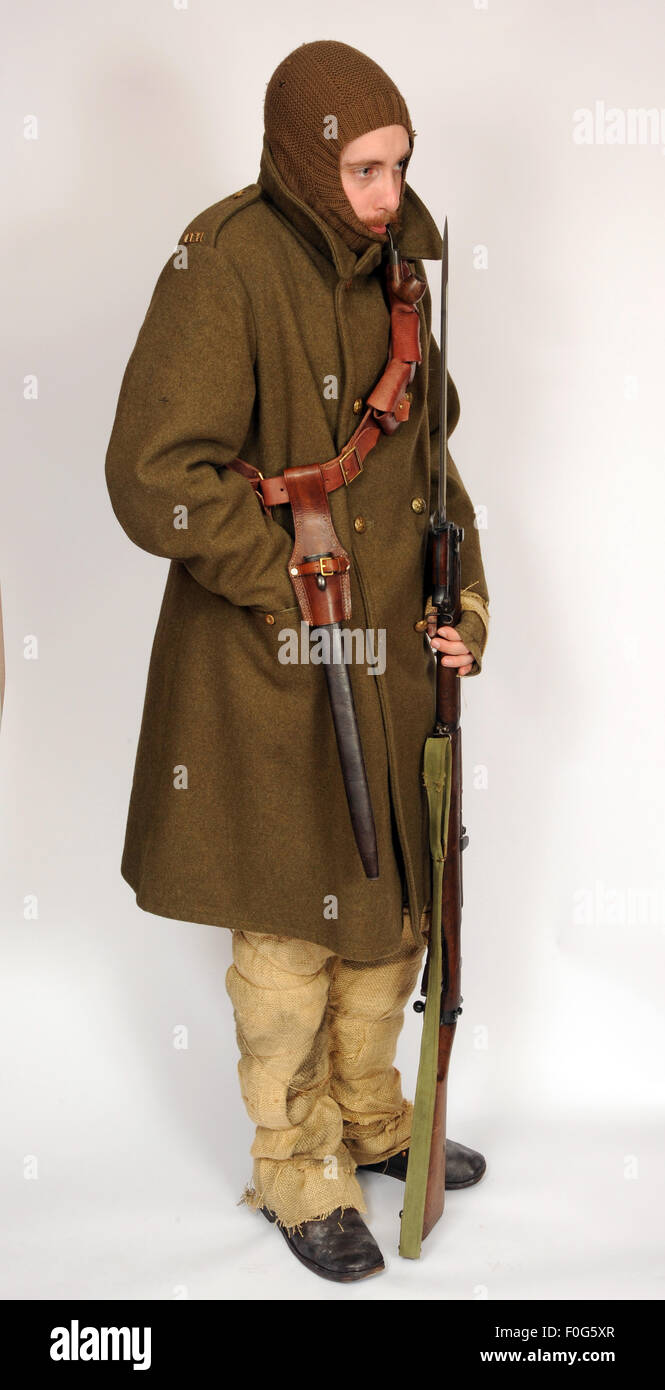 A Great War uniform as worn by British cavalry hussar soldiers fighting in the trenches during winter 1914-1918. - Stock Image