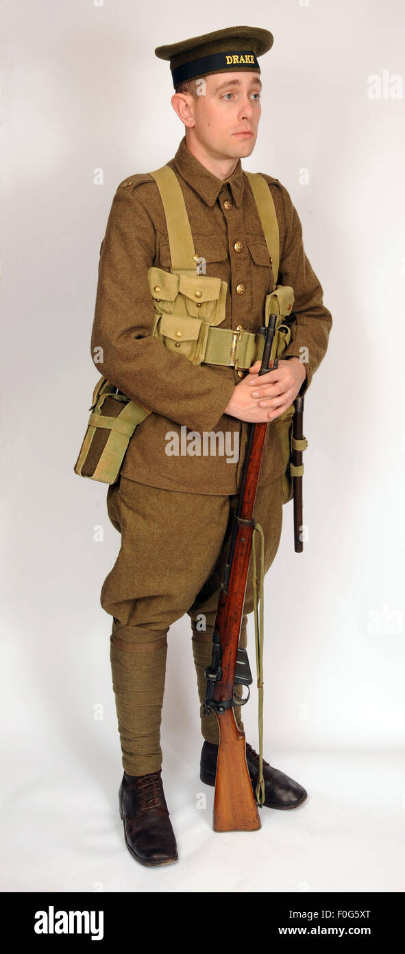 A Great War uniform as worn by British royal navy sailors fighting in the trenches as infantry 1914-1918. - Stock Image