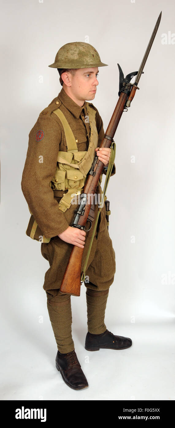 A Great War uniform as worn by British royal navy sailors fighting in the trenches as infantry 1916-1918. - Stock Image