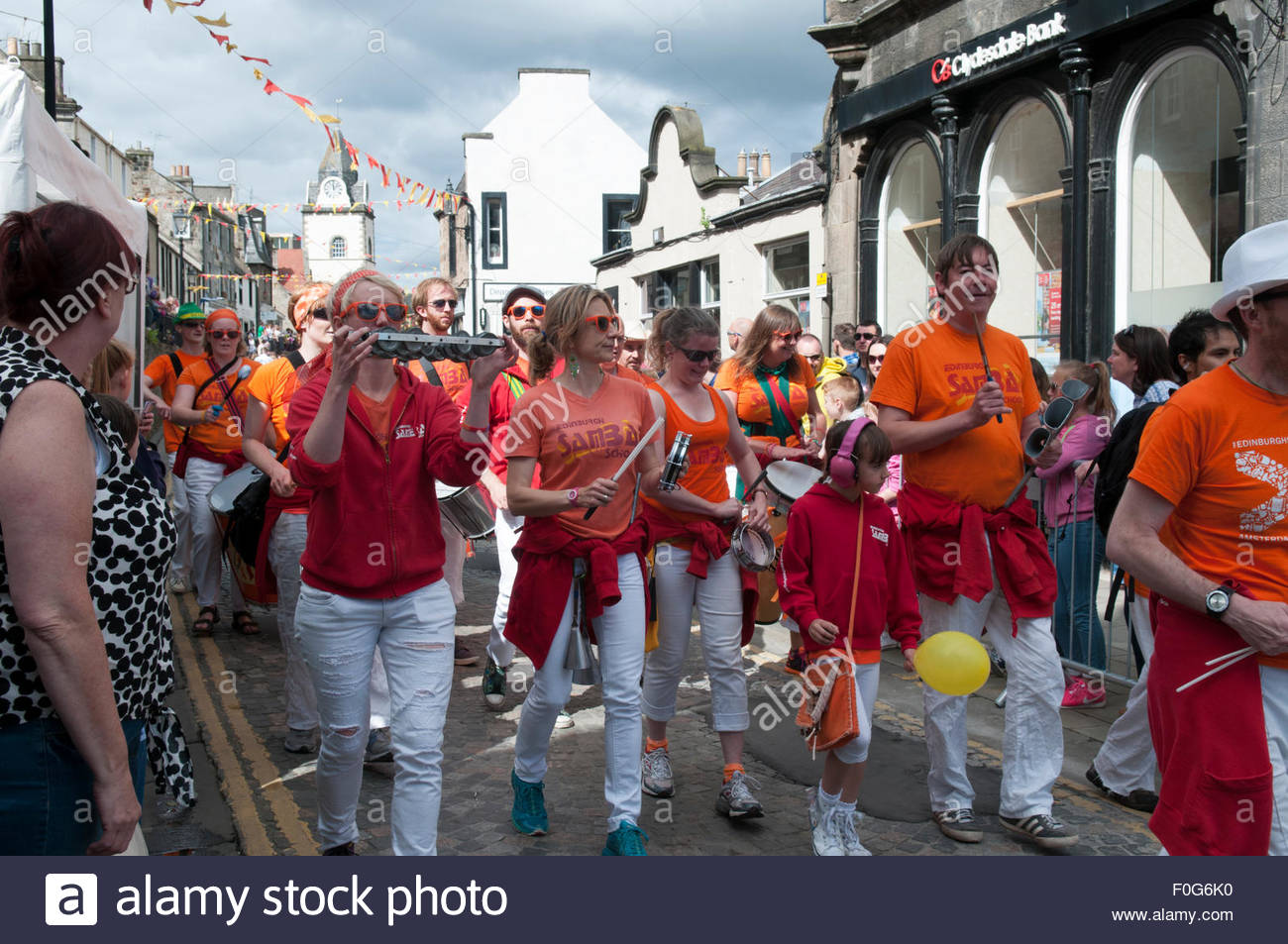 South Queensferry, UK. August 15, 2015.  Edinburgh Samba Band on the High Street. QueensferryÕs annual Fair - Stock Image