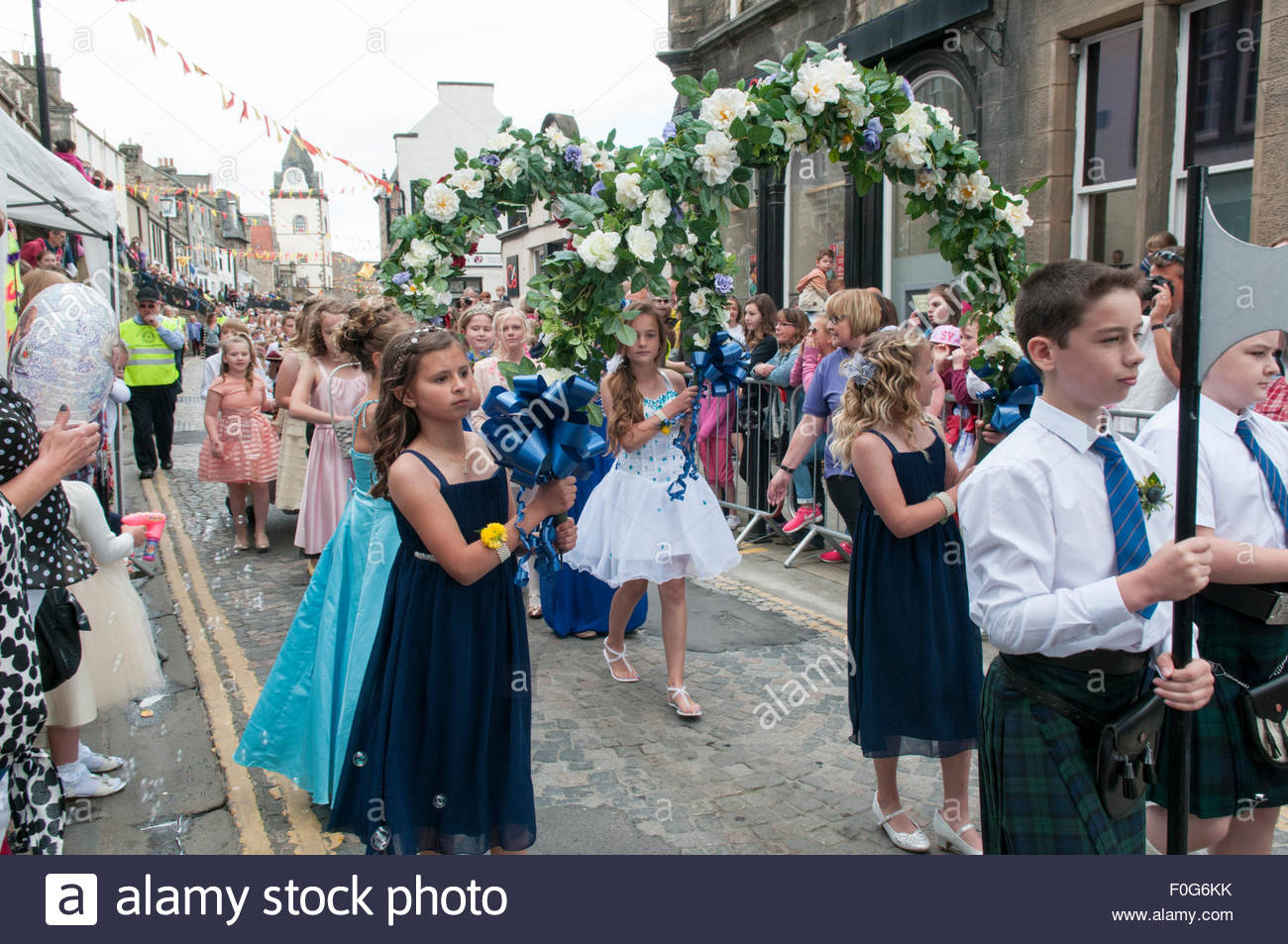 South Queensferry, UK. August 15, 2015. The Bower Girls make their way along the High Street. QueensferryÕs - Stock Image