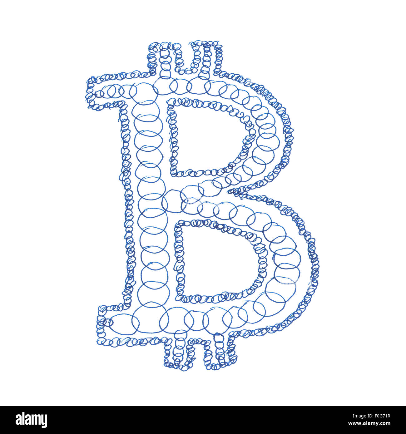 Chain Bitcoin Hand Drawn Symbol Of A Digital Decentralized Crypto