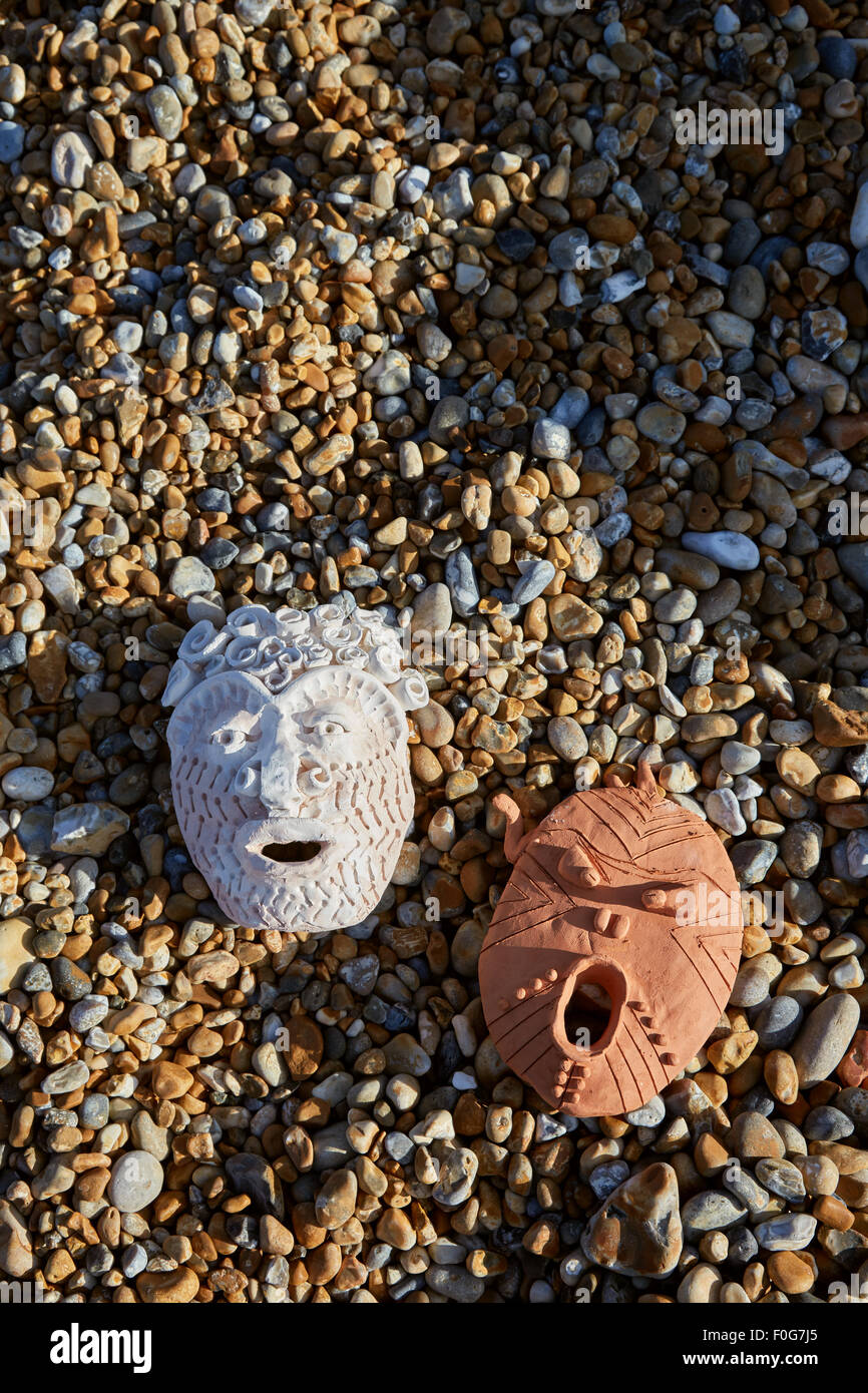 Deal, Kent, UK, Sunday 9th August 2015. Cabbo masks on Deal beach. Stock Photo