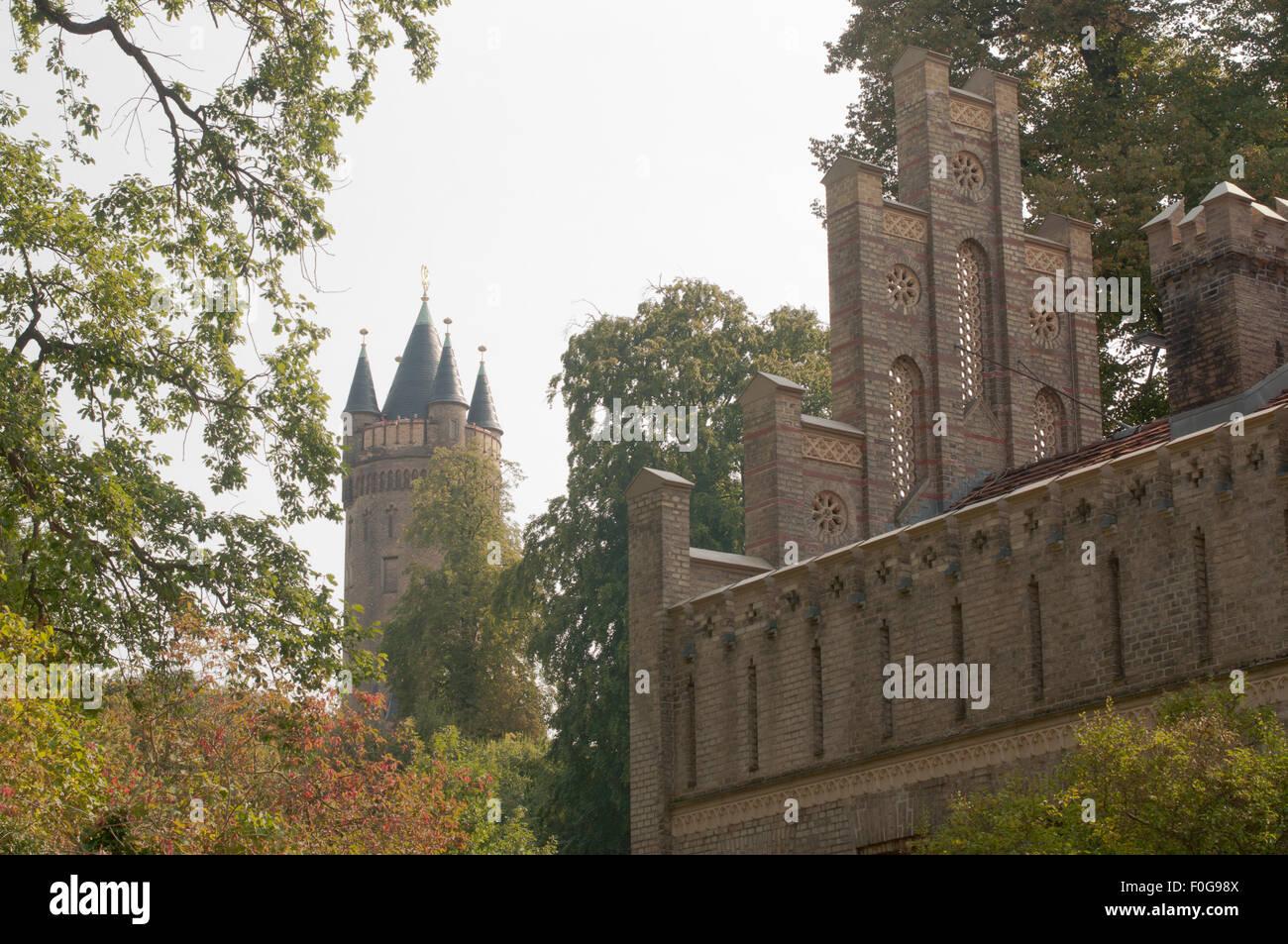 Matrosenhaus im Potsdamer  Park des Babelsberger Schlosses, Backsteingotik - Stock Image