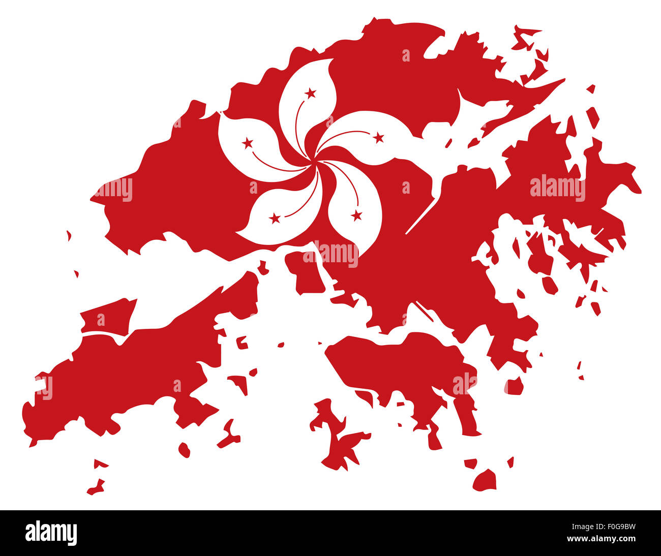 Hong Kong Flag in Red Map Outline Silhouette Illustration - Stock Image