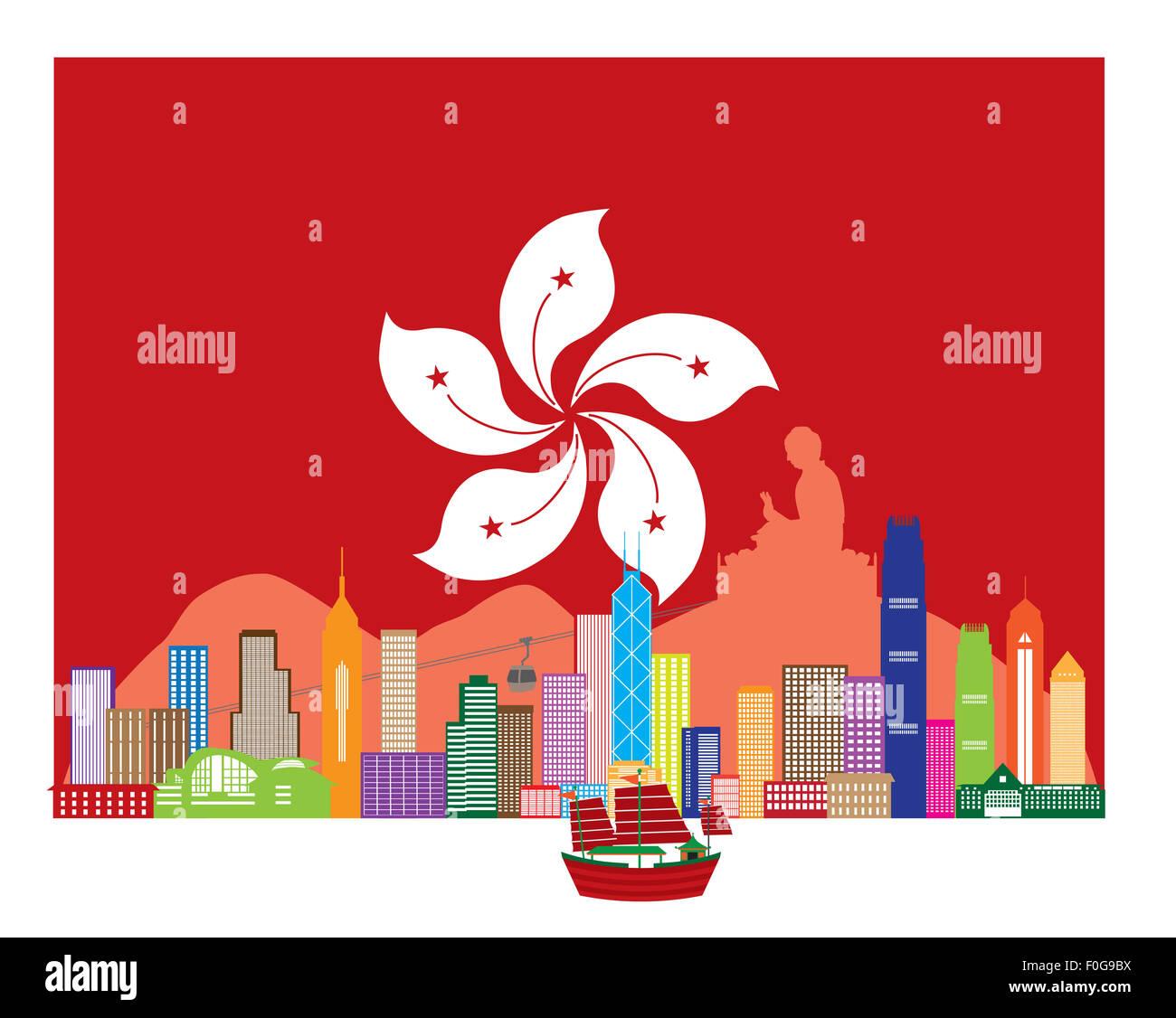 Hong Kong City Skyline and Big Buddha Statue Panorama in Hong Kong Flag Background Color Illustration - Stock Image