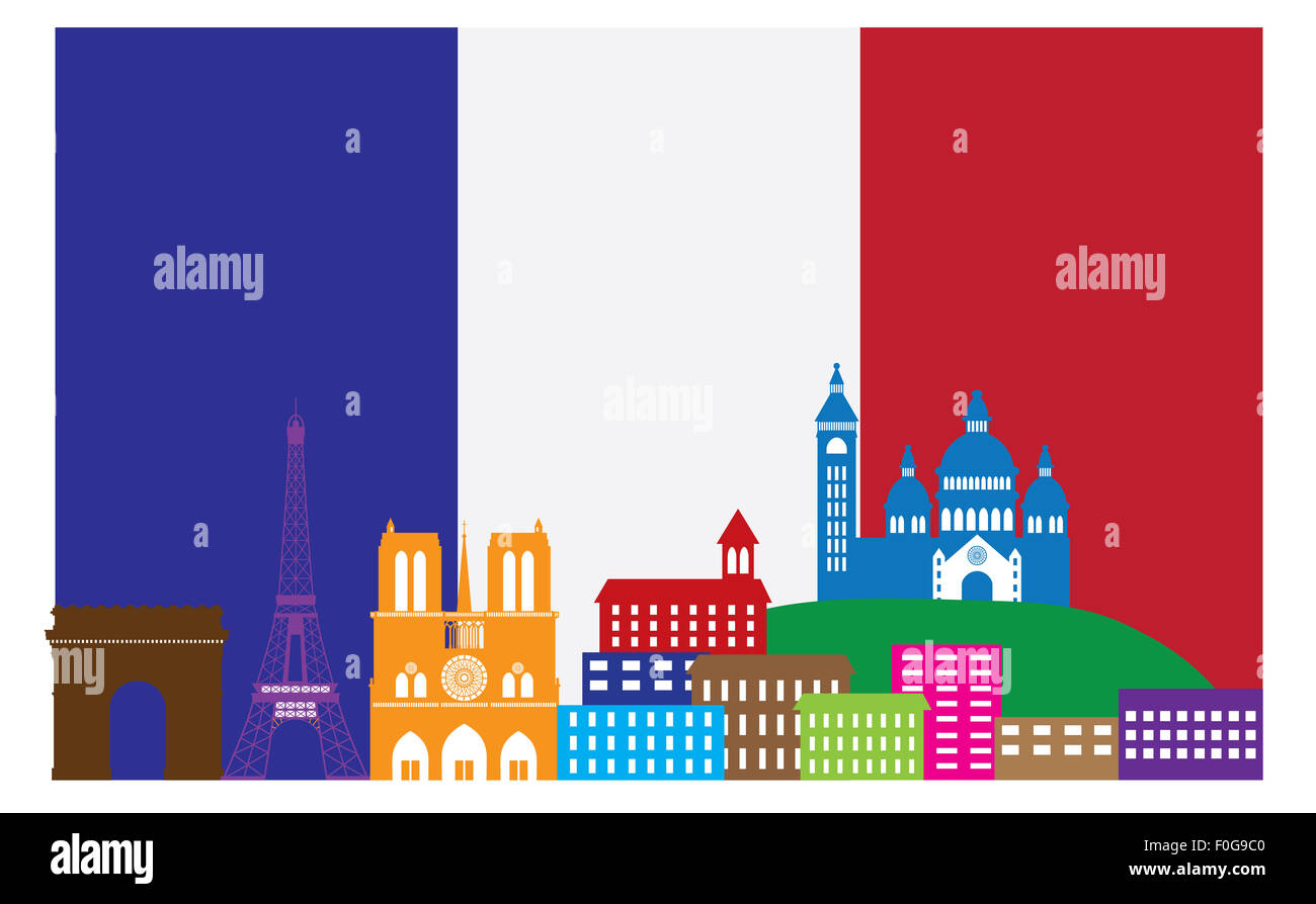 Paris France City Skyline Outline Silhouette in Flag of France Color Isolated on White Background Panorama Illustration - Stock Image