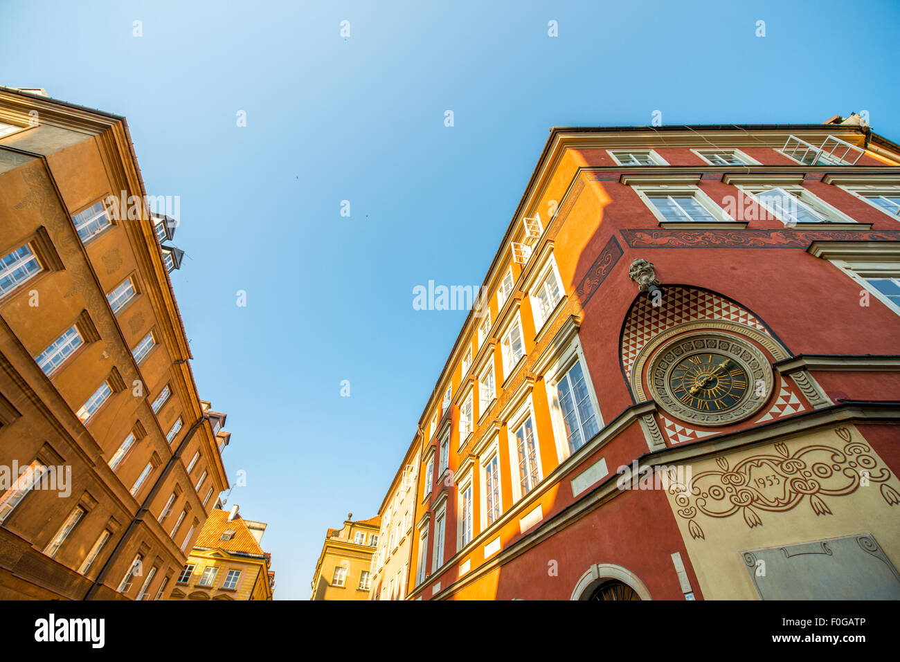 Old city clock in Warsaw - Stock Image