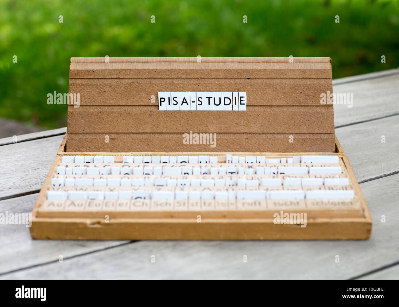 "a letterbox with the german word: ""Pisa-Studie"" (pisa-study) Stock Photo"