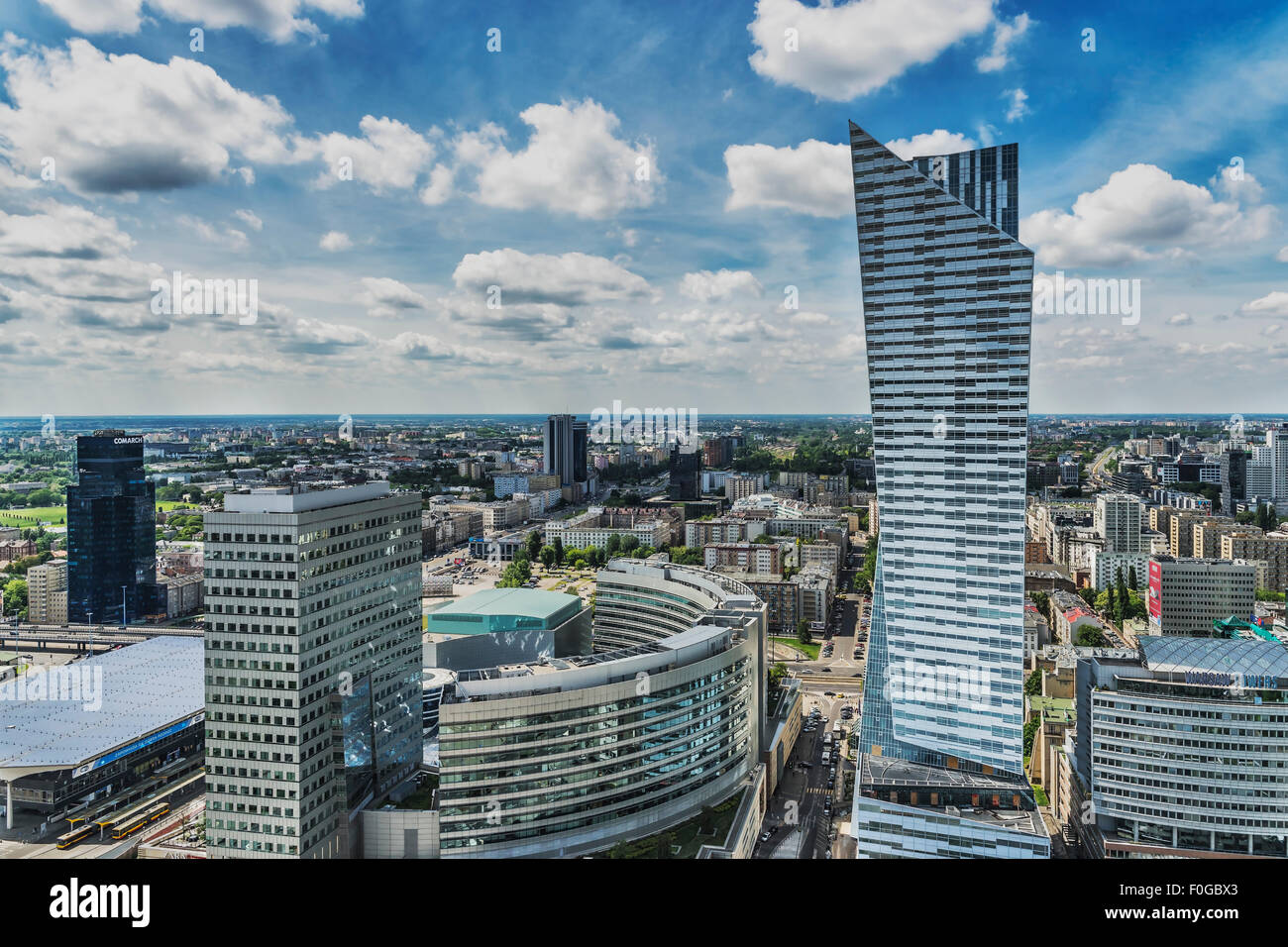 The Zlota 44 building is located on the right side. The architect was Daniel Libeskind, Warsaw, Masovian, Poland, - Stock Image
