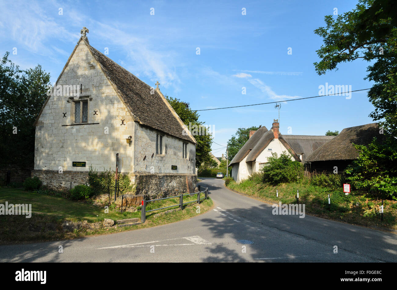 The building which served as the inspiration for the village school in the novel  Tom Brown's School Days, Uffington, Stock Photo
