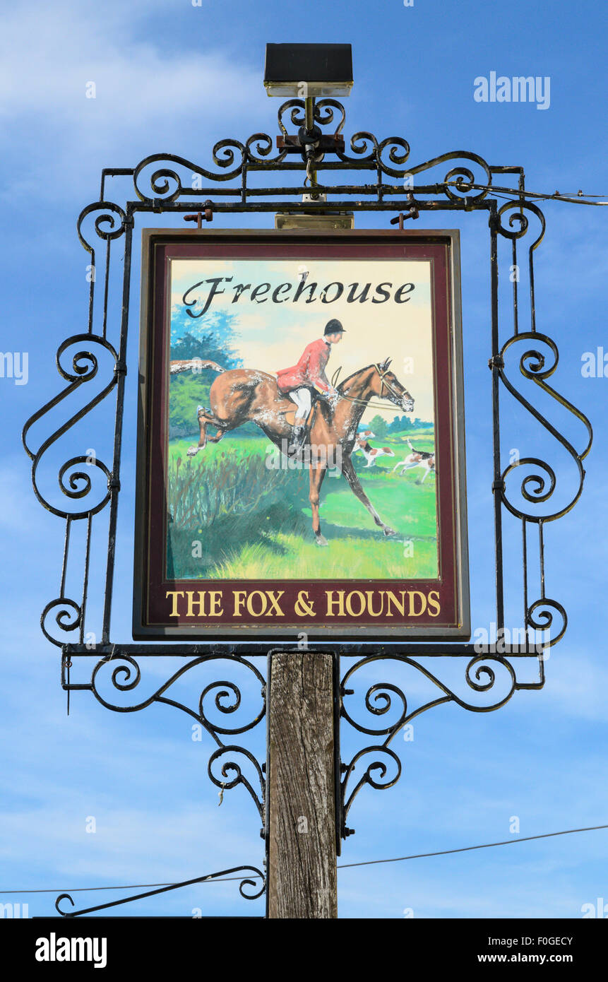 The pub sign of The Fox and Hounds Pub, Uffington, Oxfordshire, England, UK. Stock Photo