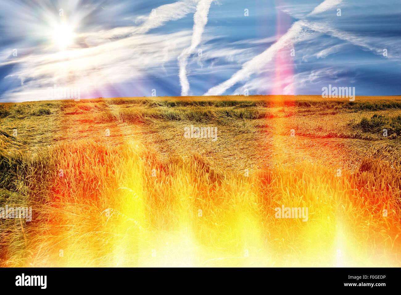 Hot weather and no rain makes drought and fires. - Stock Image