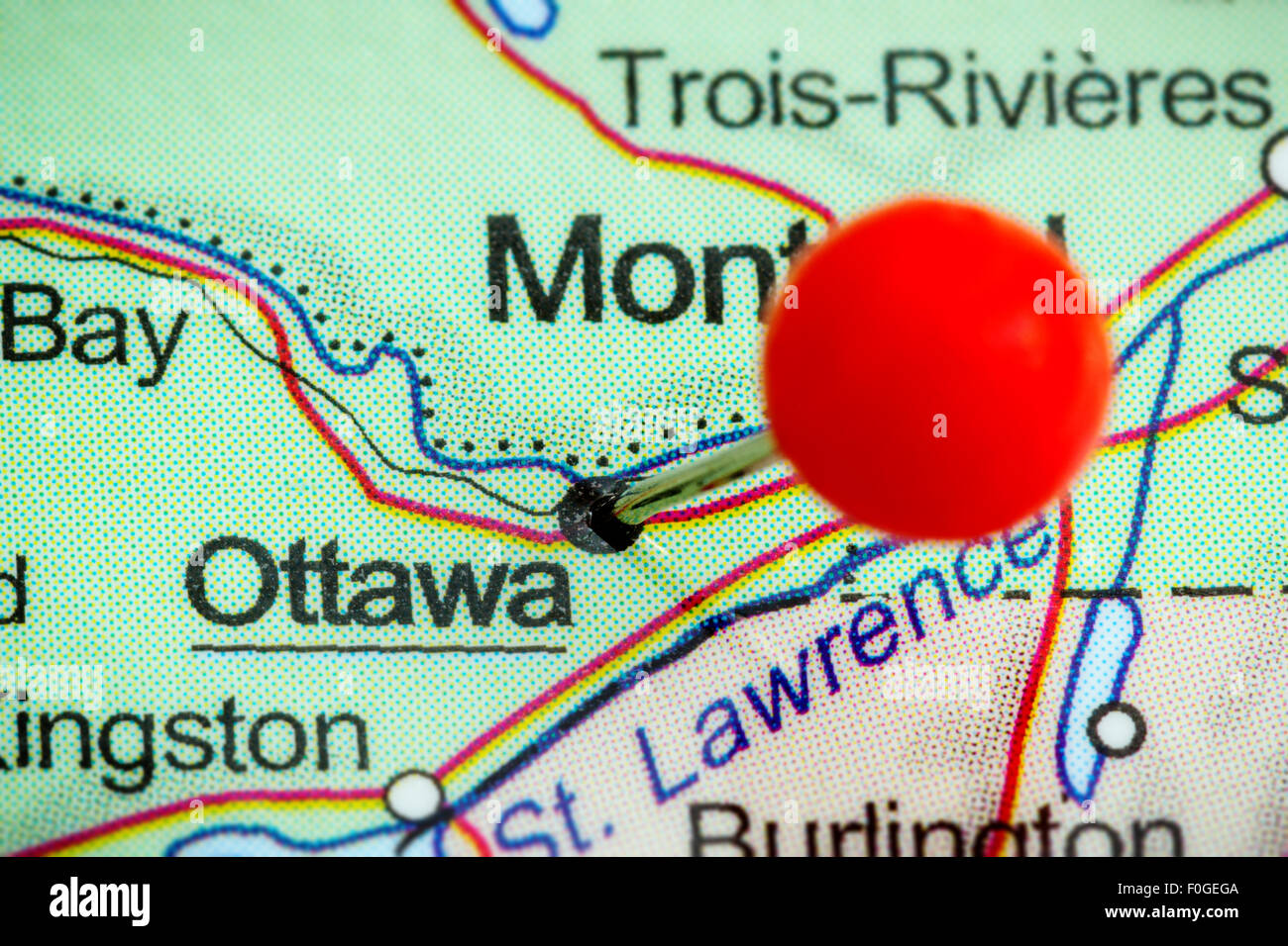 Map Of Ottawa Canada.Close Up Of A Red Pushpin On A Map Of Ottawa Canada Stock Photo