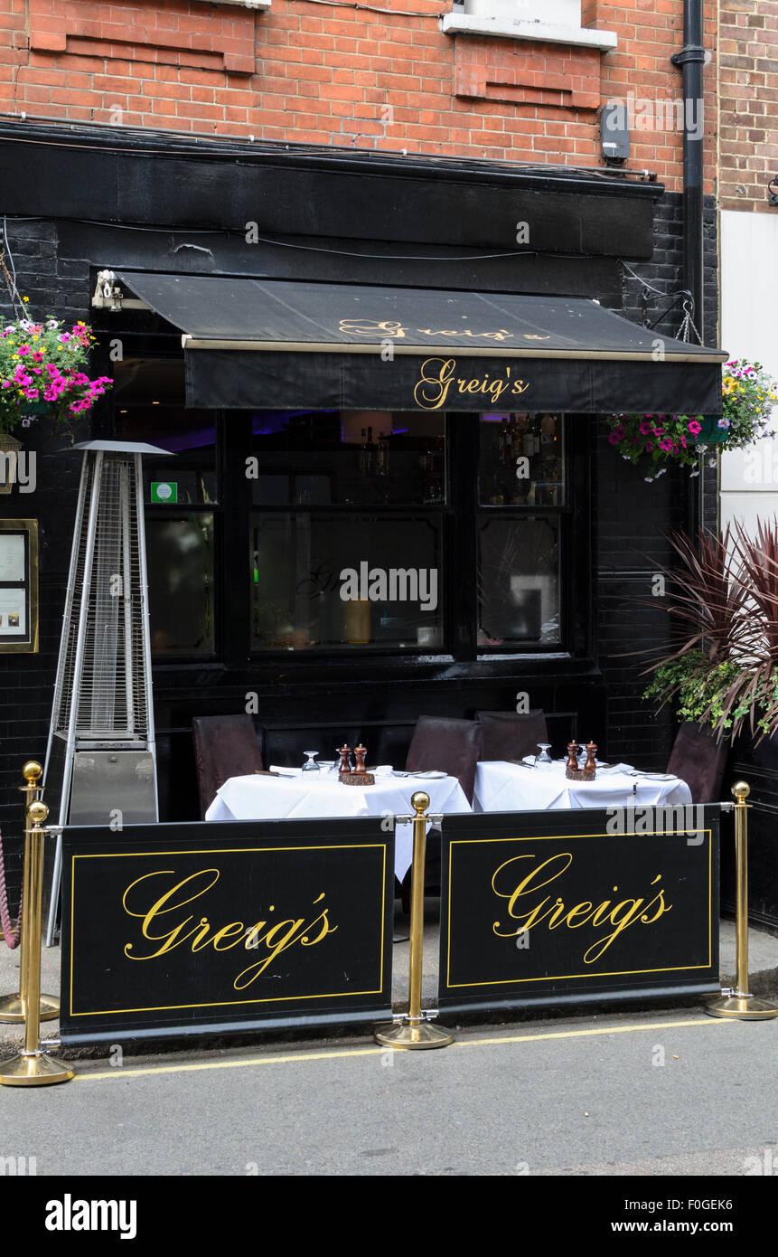 Greigs Restaurant, Bruton Place,Mayfair, London, England, UK Stock Photo