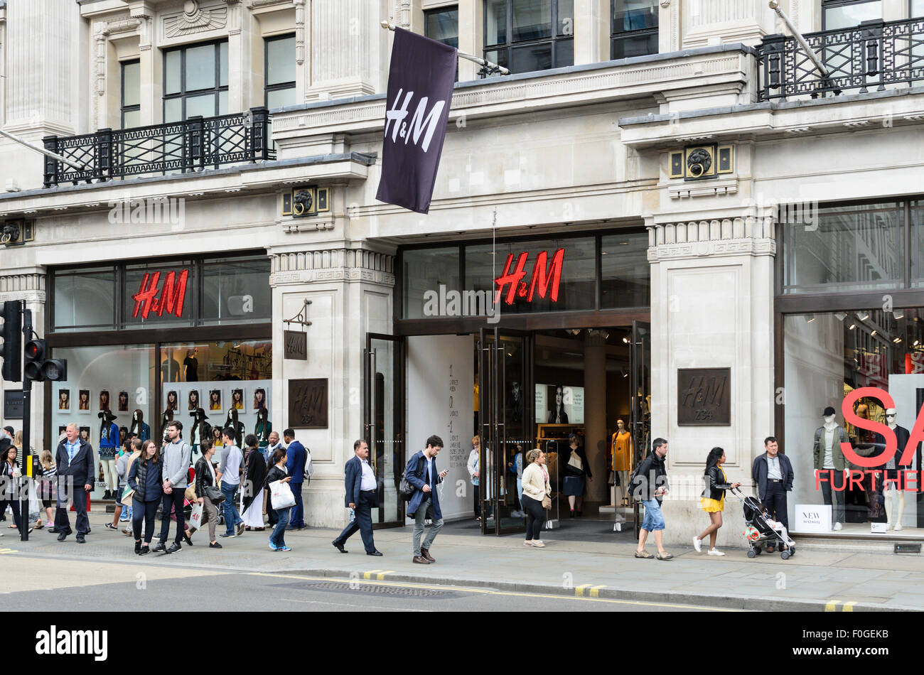 H&M retail store, Regent Street, London, England, UK. Stock Photo