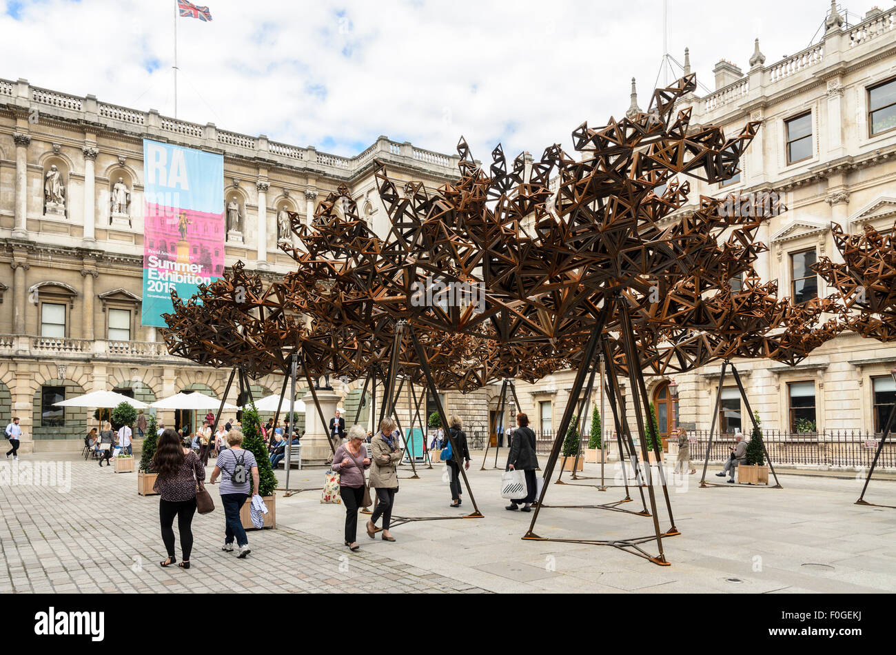 A sculpture by Conrad Shawcross called The Dappled Light of the Sun in the courtyard of The Royal Academy of Arts, London. Stock Photo