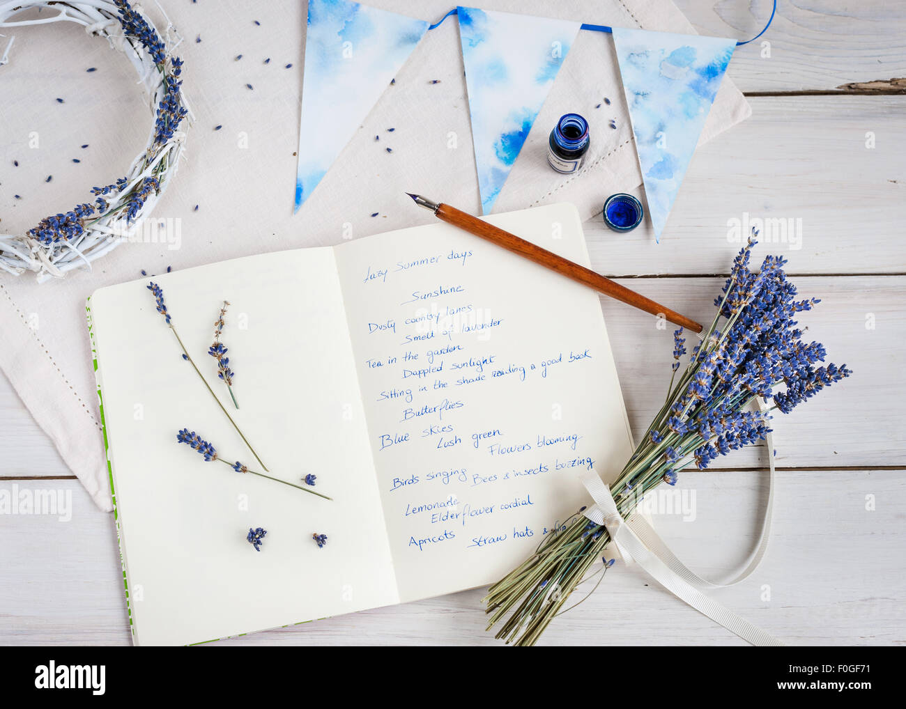 lavender, journal, pen and ink, and words of summer - Stock Image