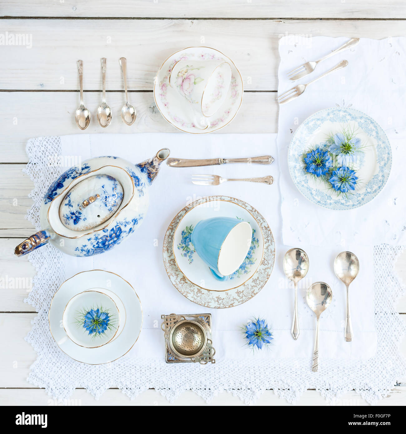a collection of vintage teaware - Stock Image