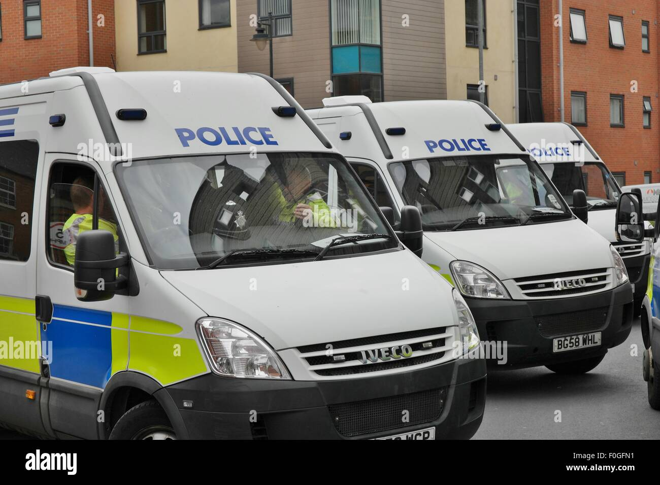 Policing at English Defence League Rally in Walsall England on 15 August 2015 - Stock Image