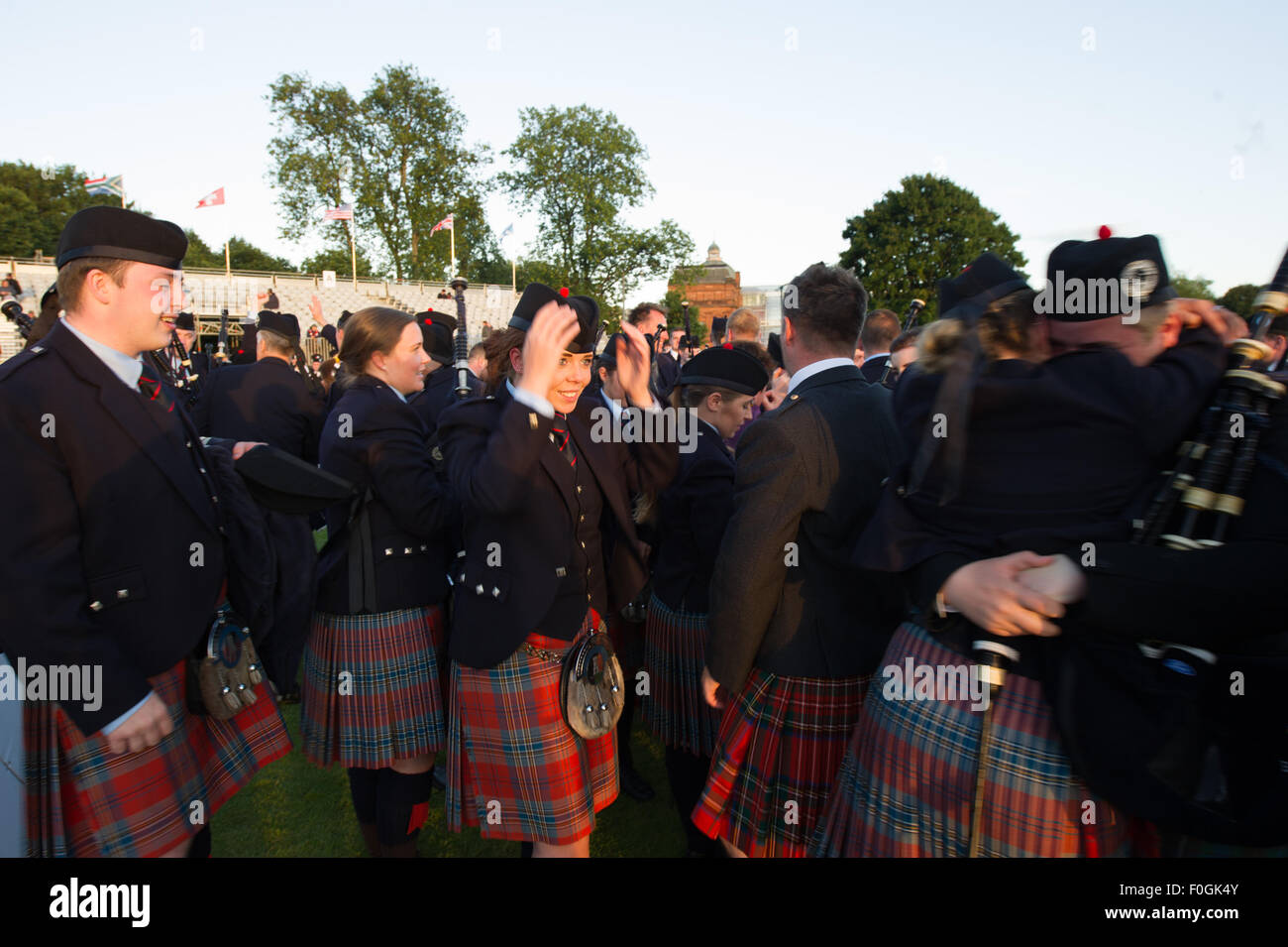 Glasgow, Scotland, 15th of August 2015.The World Pipe Band Championships held in Glasgow Green brings pipe bands - Stock Image