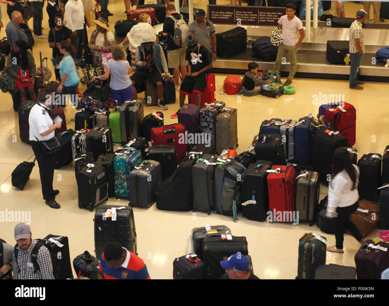 Washington, DC, USA. 15th Aug, 2015. Amount of baggages assemble at Ronald Regan National Washington Airport in - Stock Image