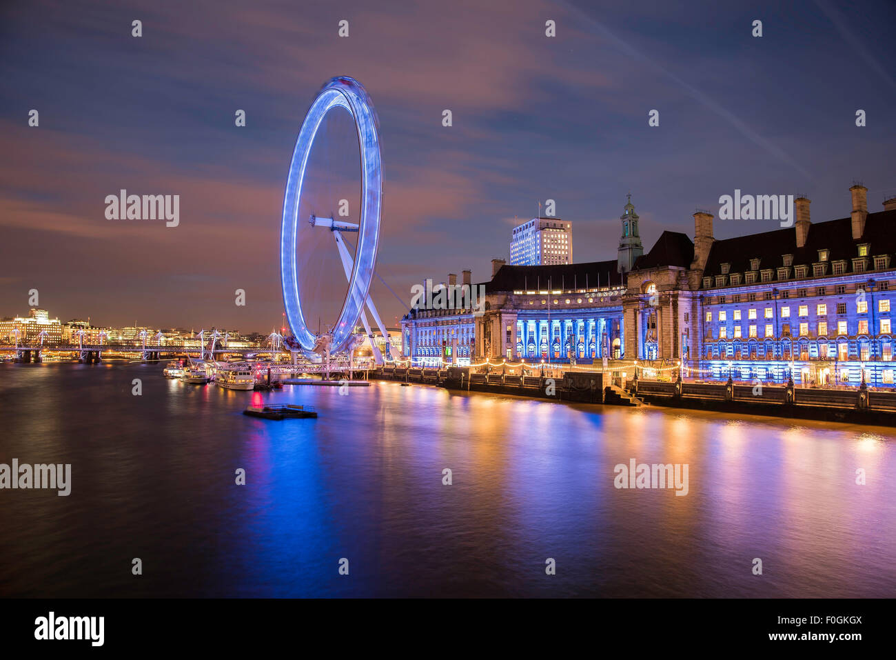 London Eye attraction at night Stock Photo