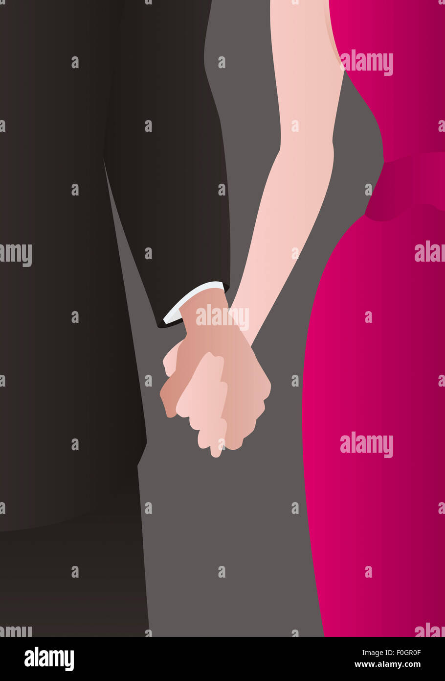 Detail of a well dressed heterosexual couple holding hands - Stock Image