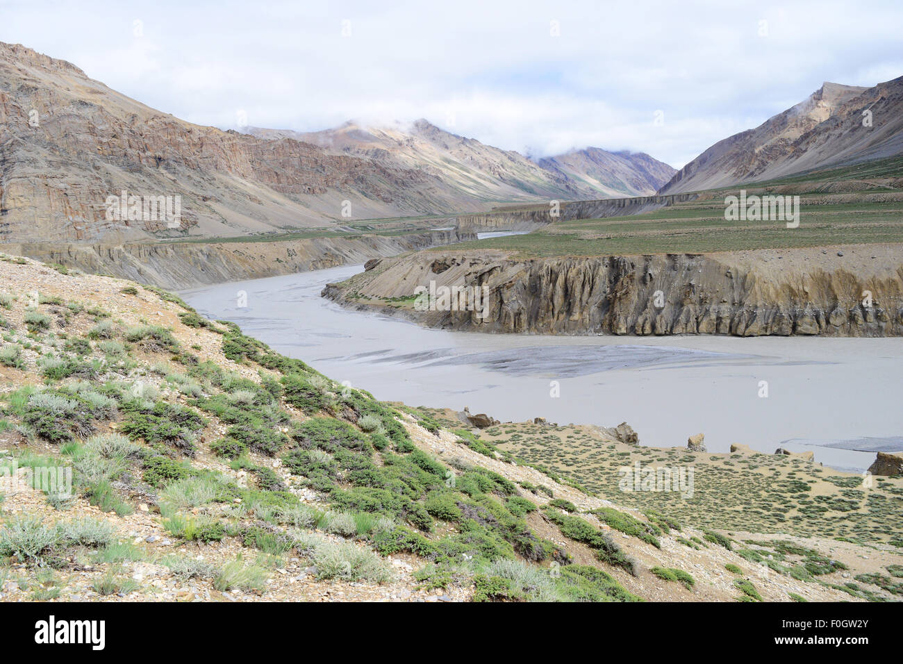 Beautiful Geography of sarchu in Ladakh Himachal Pradesh boundary region of Himalayas Mountain range and banks of - Stock Image