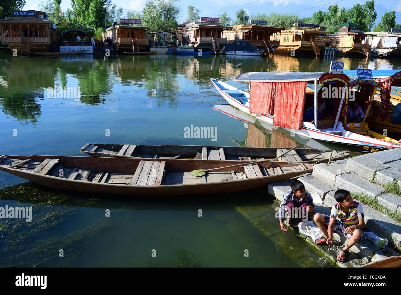 Kashmiri Children nearby the Dal Lake in Srinagar Jammu and Kashmir India - Stock Image