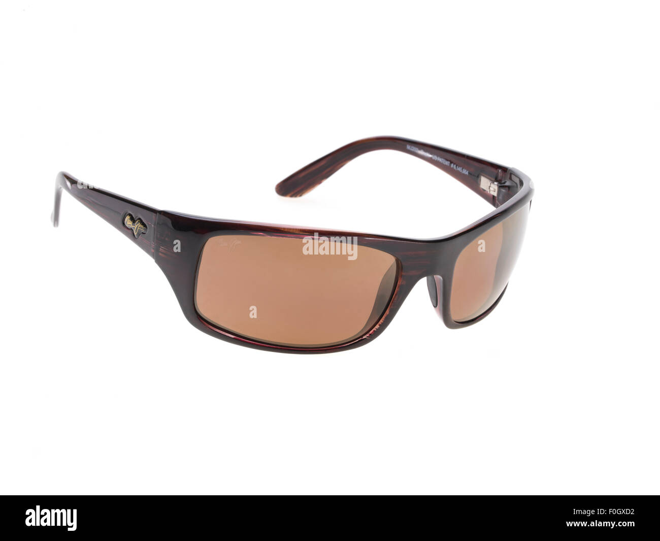 Maui Jim Polarized Sunglasses  created in Hawaii, USA Model - Peahi, Burgundy Tortoise with HCL Bronze lenses - Stock Image