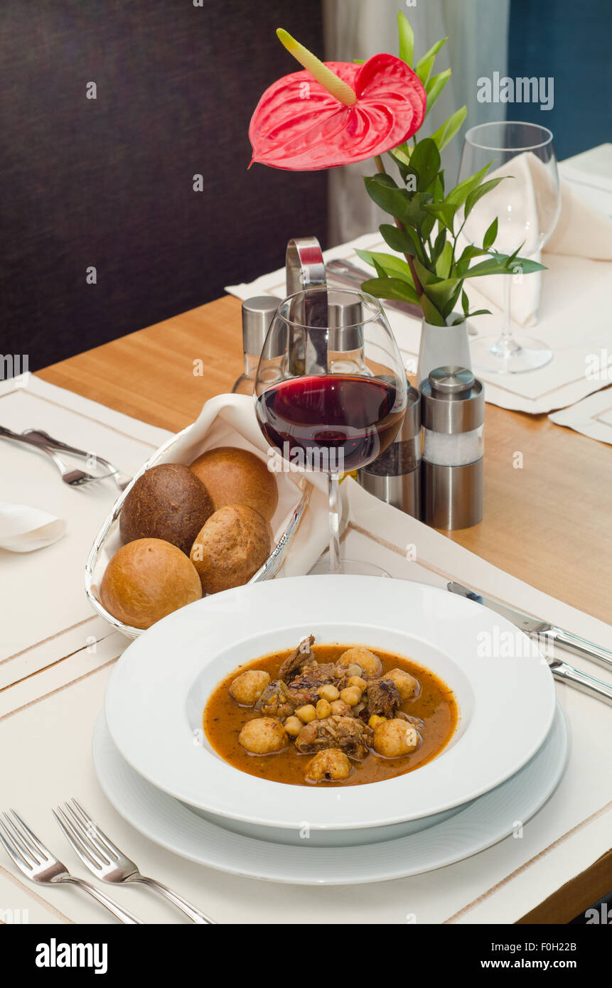 Lamb shank with wine - Stock Image