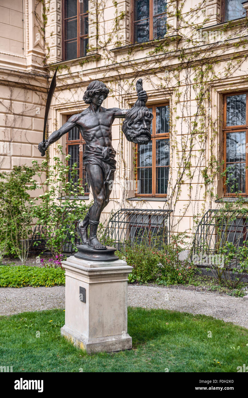 David Sculpture holding the head of Goliath, Schwerin Palace, Schwerin, Mecklenburg Western Pomerania, Germany - Stock Image
