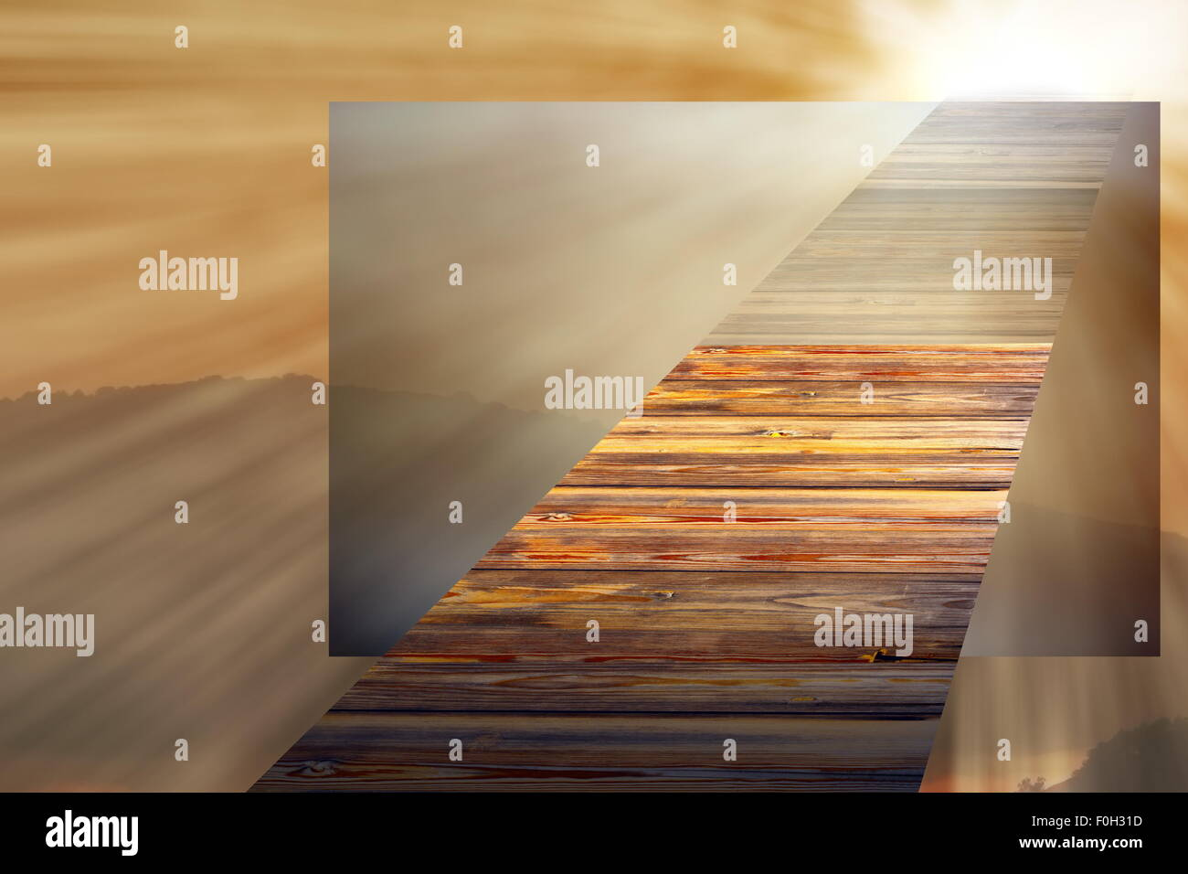 concept with wooden bridge going towards the light in the sky , entering a parallel world - Stock Image