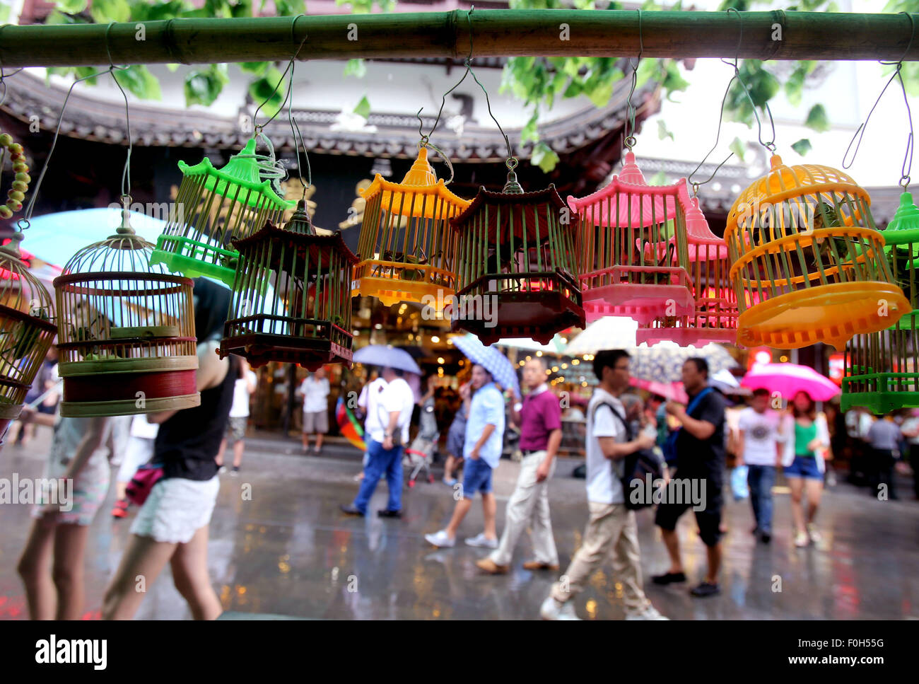 Shanghai, China. 16th Aug, 2015. Photo taken on Aug. 16, 2015 shows cricket cages at a night fair in Yu Garden of - Stock Image