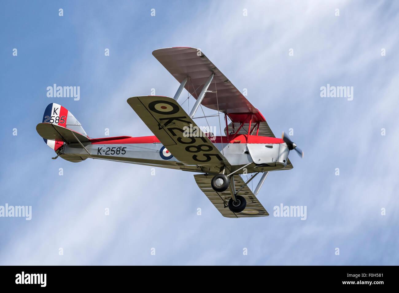 De Havilland DH82 Tiger Moth WW2 bi-plane trainer - Stock Image