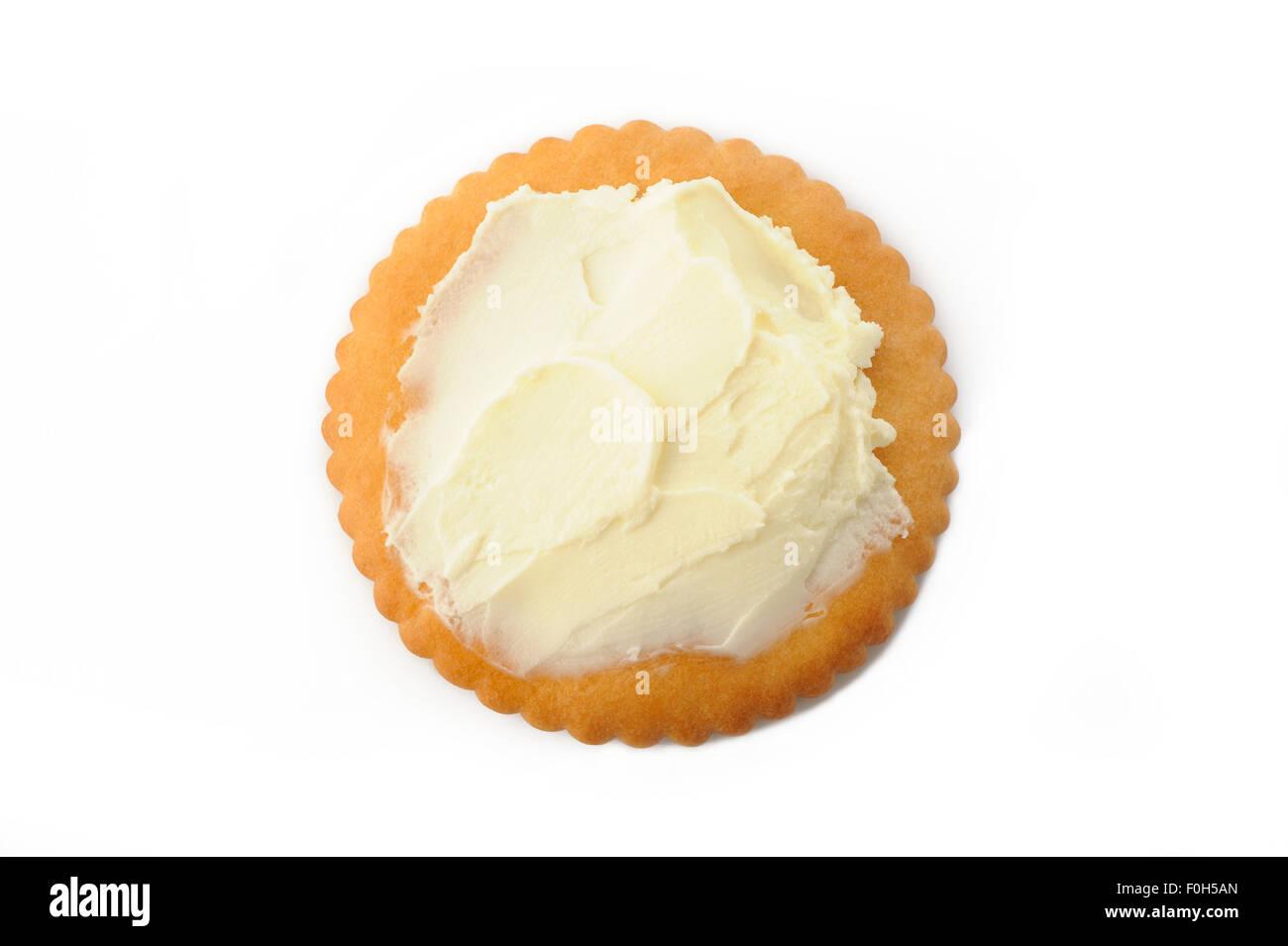 cracker with cream cheese - Stock Image