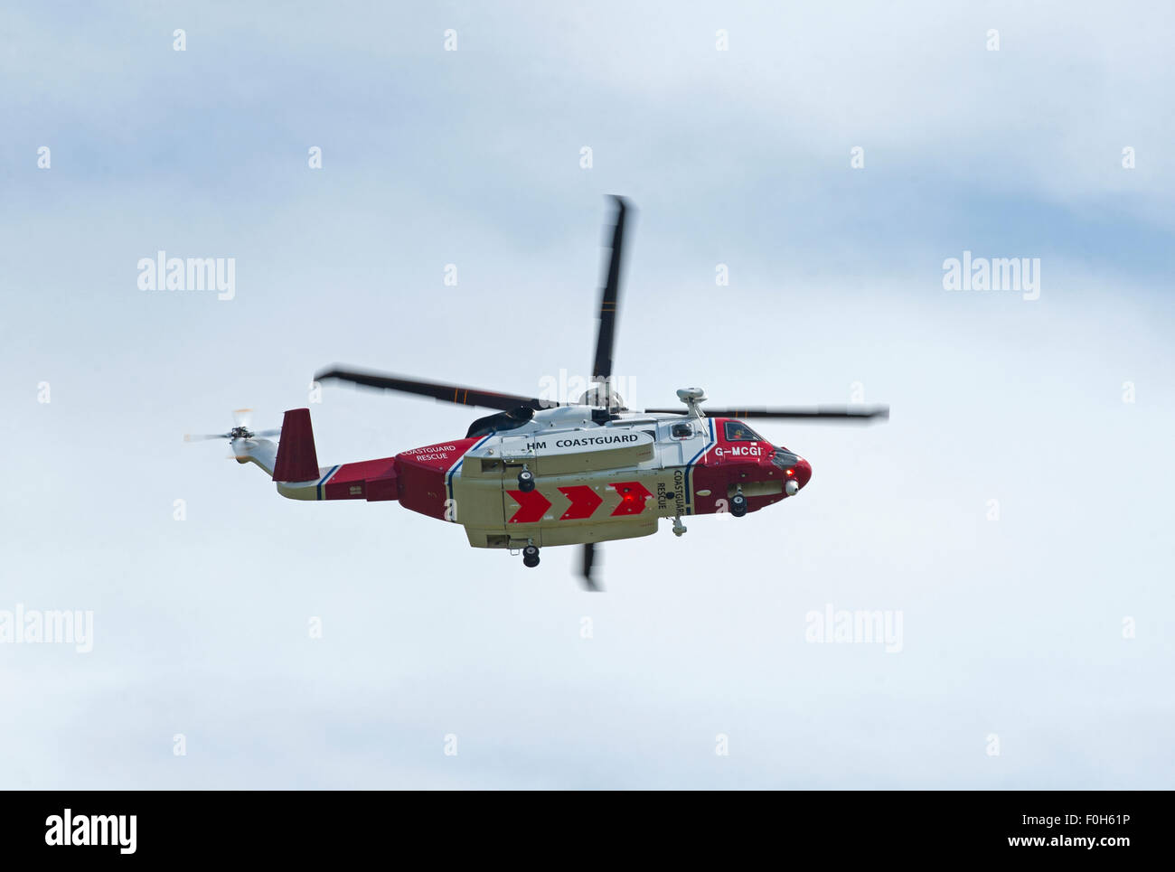 Sikorsky S-92A Coastguard SAR Helicopter (G-MCGI) based at Inverness. SCO 10,028. - Stock Image
