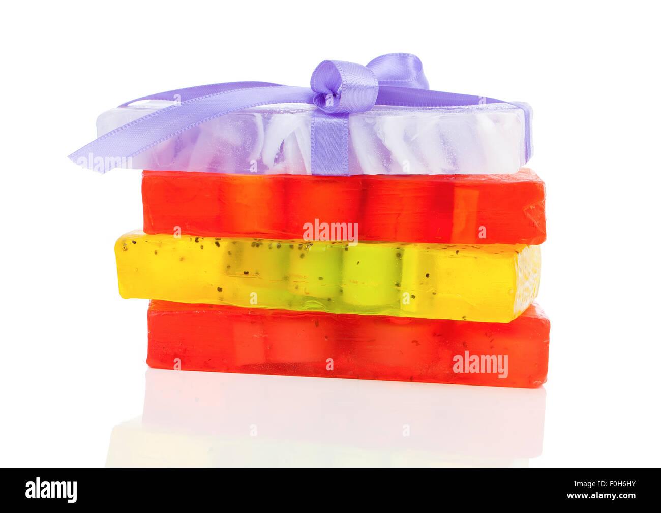 handmade soaps isolated on white Stock Photo