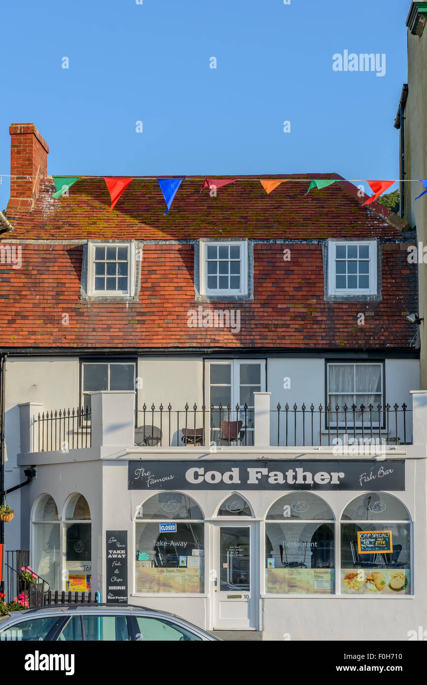 The Cod Father fish and chip shop. Old town. Hastings. East Sussex. UK - Stock Image